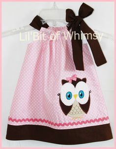 Super Cute Pink and Brown Owl applique by LilBitofWhimsyCoutur, $25.00