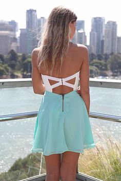 Teal/Turquoise Strapless Dress