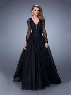 Ball Gown V-neck with Long Sheer Beaded Sleeves Tulle Prom Dress PD12079