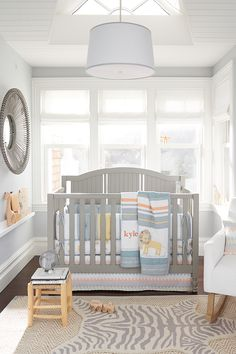 We love this soft take on baby-friendly bright colors. The Little Lion Nursery Bedding is also 100% organic cotton so that the finest materials are helping baby sleep at night. Plus, how cute are those lions!!
