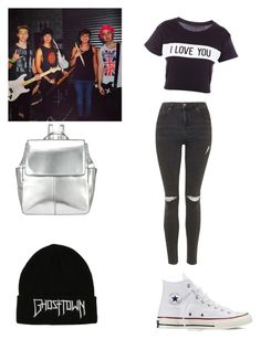 """""""Backstage with the boys"""" by beth-hemmings-1998 ❤ liked on Polyvore featuring Lovers + Friends, Topshop, Converse and Kin by John Lewis"""