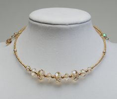 Champagne Blond Gold Crystal Memory Wire Necklace  by lilicharms, $35.00