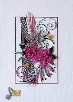 Neli Quilling Art: Cyclamen flowers ( 29.7 cm - 21 cm ) and card (14.8 cm - 10.5 cm)