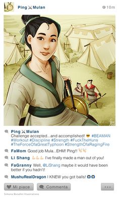 Mulan [as Ping], Yao & Shang (Drawing by SimonAbonafiniArtwork Disney Pixar, Disney Animation, Disney Au, Arte Disney, Disney Fan Art, Disney And Dreamworks, Funny Disney Memes, Disney Jokes, Disney Cartoons