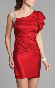 Gorgeous Sheath Satin Short Sleeve Straps Mini Cocktail Dresses - Semi-Formal Dresses - Wedding Dresses