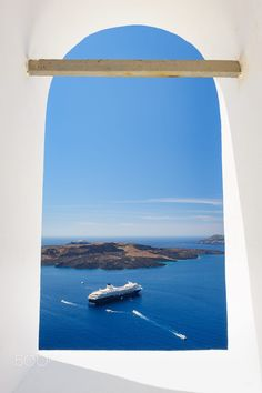 Church window, Fira, Santorini, Greece
