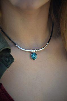 Delicate boho necklace, leather necklace, ethnic necklace, gypsy necklace, unique necklace, nordic jewelry, choker necklace, geometric