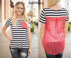 Stripes and Polka Dot Top | Small - 3XL