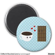Shop Coffee & Chocolate Love Magnet created by runninragged. Chocolate Hearts, Chocolate Coffee, Coffee Shop, Coffee Cups, Kawaii, Round Magnets, Refrigerator Magnets, Paper Cover, Blue Polka Dots