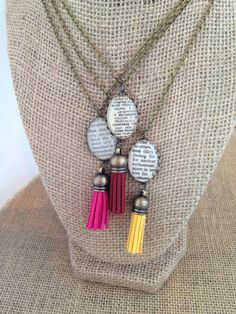 These fun leather tassel necklaces are personalized with your choice of a word selected from my collection of vintage dictionaries. Then add your