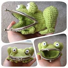 This Crochet Frog Purse by Laura Sutcliffe is just adorable!