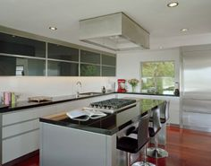 Flush ceiling mount range hood a great alternative for open space ...