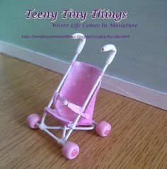 1/12th scale Miniature Dolls House Dolls Stroller by Teeny Tiny Things