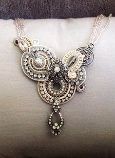 Bridal soutache necklace by Amytea.deviantart.com on @deviantART