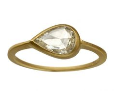 """A sparkling 0.75 carat rose cut white diamond in a fine 18K yellow gold """"Jane"""" setting. Clean and minimal, while referencing antique design and craftsmanship."""