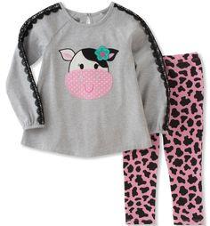 Kids Headquarters Toddler Girls' Tunic Legging Set, Heather Grey, 4T. Crew neck top. Leggings.