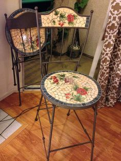 Beautiful Mosaic Inlaid Folding Patio Stools | PAIR of TWO(2)
