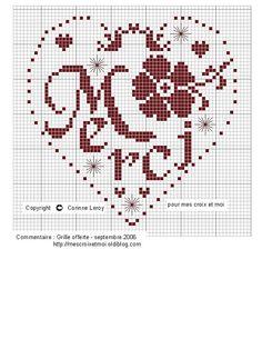 (Corinne Lacroix Mes croix et moi. Cross Stitch Quotes, Cross Stitch Heart, Simple Cross Stitch, Cross Stitching, Cross Stitch Embroidery, Embroidery Patterns, Cross Stitch Patterns, Cross Stitch Freebies, Plastic Canvas Patterns