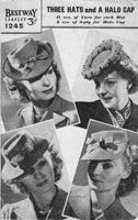 Great vintage ladies knitting pattern for hats 1940s. All 4 of these hats are knitted, they are in moss stitch and require a small amount of millinery wire to keep shape, some canvas for the jockey cap - bottom right. And a small amount of wadding for the halop cap top right of cover.