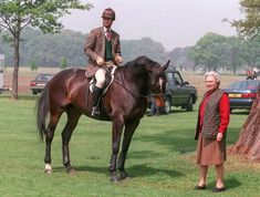 1997 Queen Elizabeth and Prince Edward at the Royal Windsor Horse Show.