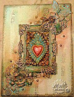 MvM-Scrapdesigns: Canvas board, Heart.