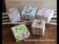 Schachteln aus Karton einfach selber machen mit Schablone - YouTube Gift Wrapping, Gifts, Youtube, Stencil Templates, Craft Tutorials, Paper Board, Gift Wrapping Paper, Presents, Wrapping Gifts