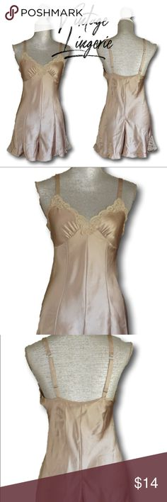"""Cacique Vintage Lingerie Jumper with lace detail s Brand: Vintage piece by Cacique Type: spaghetti strap romper style with snap crotch Color: sand / beige / gold Size: S Material: 100% polyester (satin like material) Measurements laying flat:  Underarm to underarm is 16 1/2 Waste is 14"""" Length is 32"""" Condition: Used and in good condition small pulling in areas that I cleaned up plus one slightly visible pull on the back but does not effect the function of garment. :)  All orders come with a…"""