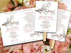 Wedding Fan Template - Love Bird Tree Branch Coral Pink Peach Brown Ceremony Program - Outdoor Wedding Program Favor Word Template by PaintTheDayDesigns, $10.00