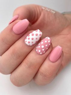 Cute pink coffin nails short with two accent polka dot coffin nails Pink Acrylic Nail Designs, Pink Acrylic Nails, Classy Acrylic Nails, Dot Nail Designs, Pink Nail Art, Classy Nails, Pink Acrylics, Accent Nail Designs, Art Designs