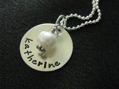 Aidan Necklace Smooth sterling silver disk with by magpiedesignz, $39.00
