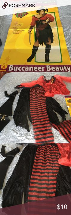 Plus Pirate Halloween Costume 🎃 PreWorn (1X) Plus Costume includes : shark  bite hem Skirt with elastic waist, Top with sheer sleeves & scoop neck, Black tie belt with mock gold thread tie, Sheer Bandana + 1 have an extra Bandana with Pirates of the Caribbean Mickey Logo for wristband . In GUC these costumes are extremely cheaply made So- thin material- kind of flimsy That said cute and CHEAP 👻 Stop worrying about a costume Lol add black boots or booties - a dollar store scabbard and have…