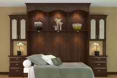 Get space saving ideas for your Murphy wall bed project. See custom designed wall units with built-in options for wall beds. Closet Design Tool, Custom Closet Design, Closet Designs, Bed Designs, Floating Headboard, Bed Parts, Bed Wall, Big Houses, Spare Room