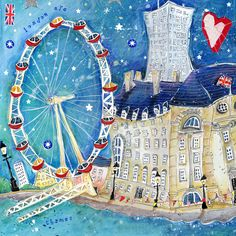 London Eye Framed at Whistlefish - handpicked contemporary & traditional art that is high quality & affordable. British Artists, Eye Frames, London Art, British Isles, Art Journals, Twinkle Twinkle, Traditional Art, Artsy Fartsy, Painting & Drawing