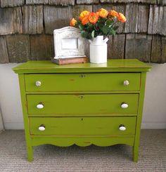 Green distressed dresser