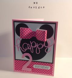 Minnie Mouse Stampin Up, Envelope Punch Board Bow, Crazy About You stamp set Bday Cards, Kids Birthday Cards, Disney Birthday, Disney Scrapbook, Scrapbook Cards, Scrapbooking, Minnie Mouse, Punch Art Cards, Disney Cards