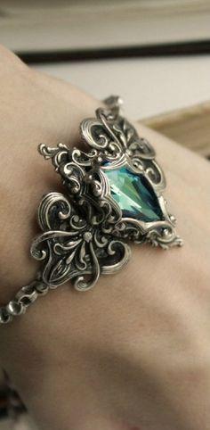 Lady of the Ocean Aged Silver and Swarovski Bracelet - Blue - Aqua - Silver…