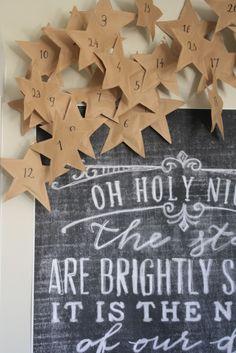 holiday, interior, paper stars, school, kraft paper, advent calendars, chalkboard art, design, christma