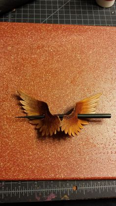 Wings Leather Hair Ornament with Stick  Made to by BoondockStudios, $30.00