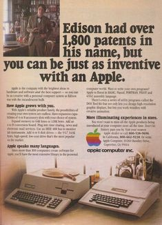 Before Apple was cool: Vintage ads reveal the iPhone maker's first forays into advertising Der Computer, Computer Technology, Computer Programming, Energy Technology, Technology Gadgets, Steve Jobs, Vintage Advertisements, Vintage Ads, Retro Ads