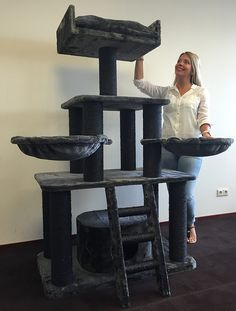 Cat tree for large cats Black Panther 12cmØ poles, ca 62KG and 100x60x173cm cat scratcher scratching post activity centre for heavy or large cats. Quality production from RHRQuality