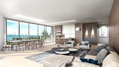 Ricardo Bofill debuta en Miami con proyecto residencial de lujo,Living Room Interior Rendered View. Image Cortesía de Nadine Johnson & Associates