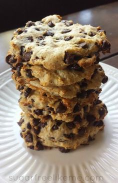 Low-Carb Chocolate Chip Cookies - actual recipe link is here http://blondiespaleojourney.weebly.com/my-blog/coconut-chocolate-chip-cookies-keto-and-lactopaleo