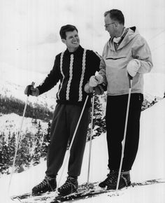 Ted Kennedy skis at Loveland Basin with Colorado state representative Joe Dolan in 1959. Great ski boots, laced up and casual men's skiwear. Denver Post file photo