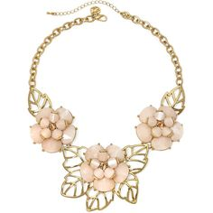 Gemma Simone™ Bloom Fresh Cut Peach Stone Necklace (43 CAD) ❤ liked on Polyvore featuring jewelry, necklaces, accessories, collar, collier, long necklace, cut out necklace, stone jewellery, floral jewelry and stone necklace