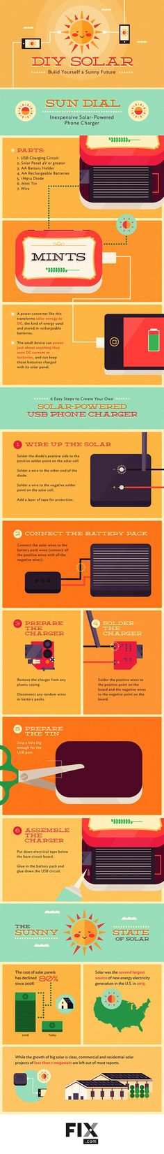 INFOGRAPHIC: Make your own solar phone charger Inhabitat - Sustainable Design Innovation, Eco Architecture, Green Building Solar Powered Phone Charger, Solar Phone Chargers, Solar Charger, Permaculture Design, Solar Solutions, Diy Tech, Eco Architecture, Power Energy, Healthy Environment
