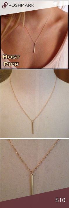 """Bar Necklace Pretty gold toned bar necklace. Chain is 18"""" plus a 2"""" extender. New in package. Jewelry Necklaces"""