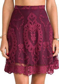 Wine lace skirt