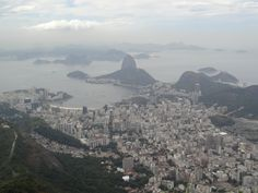 An aerial view of Rio De Janiero, taken from Corcovado, the mountain on which rests the Cristo Redentor.  There was a lot of humidity in the air, as you can see.
