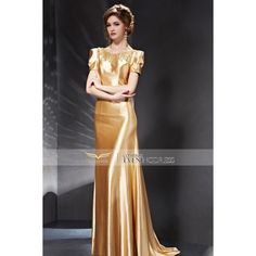 2015 Summer Golden Sequined Scoop Neck Tie-Back Cap Sleeve Prom Dress... ❤ liked on Polyvore featuring dresses, prom dresses, golden sequin dress, summer dresses, cap sleeve cocktail dress and summer cocktail dresses