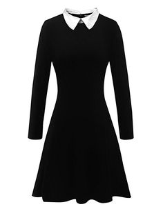 0b3f57eb81 Aphratti Women s Long Sleeve Casual Peter Pan Collar Fit and Flare Skater  Dress at Amazon Women s